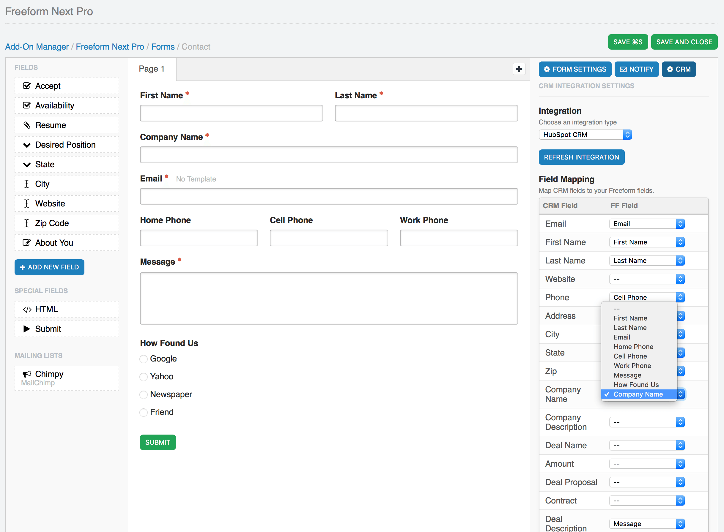 CRM API Integration Field Mapping in Composer