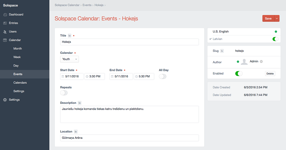 Create a New Event with Locales