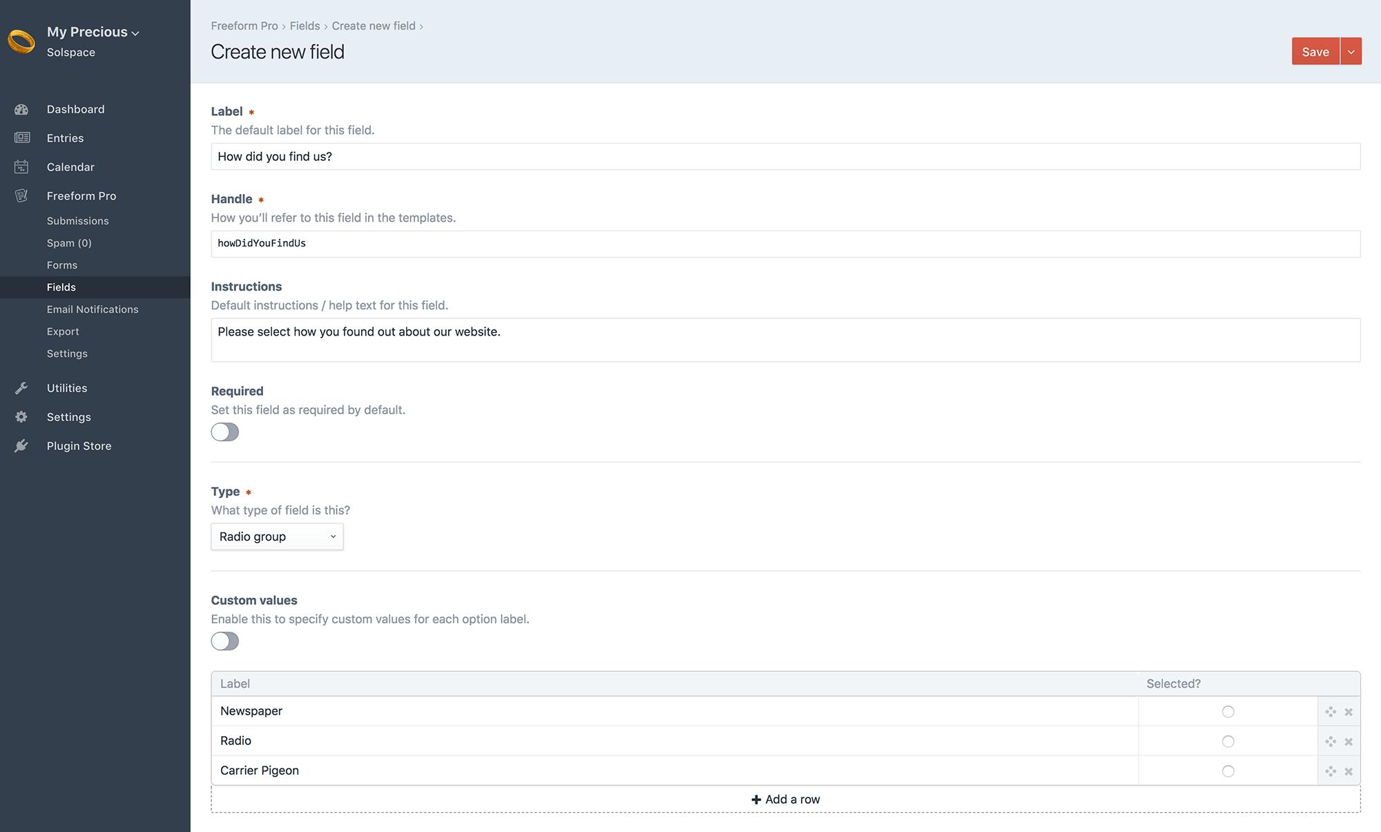 Craft Freeform 2 x - Fields & Field Types | Solspace Documentation