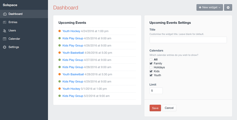 Upcoming Events widget