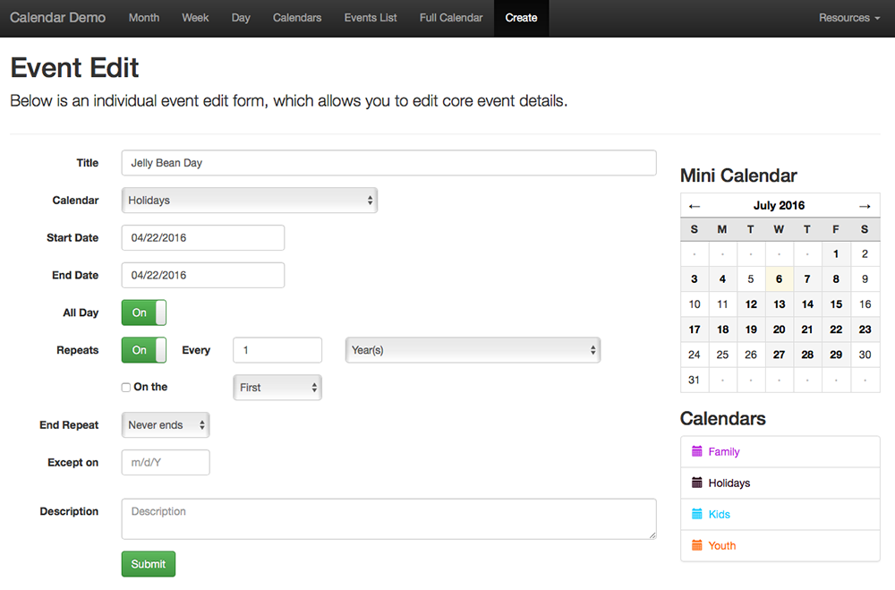 Creating/Editing Events on the Front End