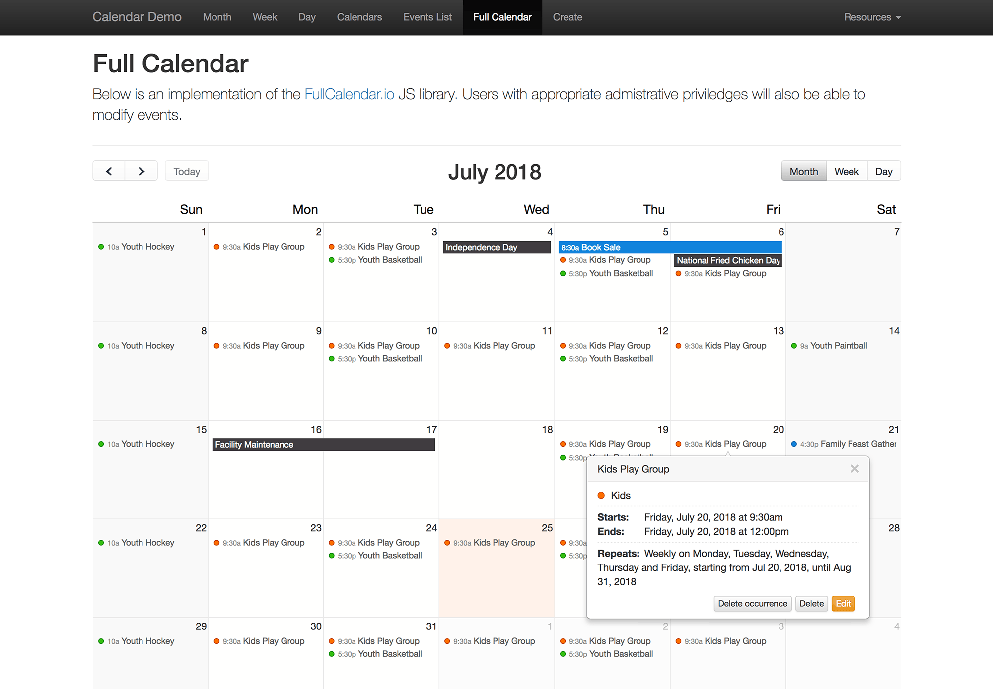 FullCalendar JS library - Month view